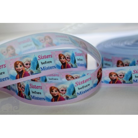 "M2M * SISTERS before MISTERS* 7/8"" Character Grosgrain Ribbon , Crafts - 1m"
