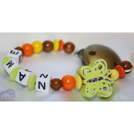 lemon glitter Butterfly Personalised Wooden Dummy clip / Chain