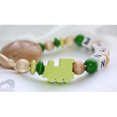 Green Locomotive Personalised Wooden Dummy clip / Chain