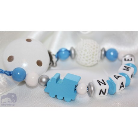 Blue Crochet Locomotive Personalised Wooden Dummy clip / Chain