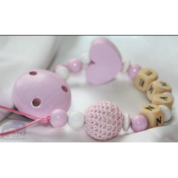 Pink Crochet & Heart Personalised Wooden Dummy clip / Chain