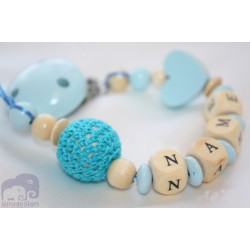 Blue Crochet & Heart Personalised Wooden Dummy clip / Chain