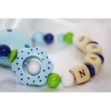 3D Dots Blue Flower Personalised Wooden Dummy Clip / Chain / Holder / Pacifier