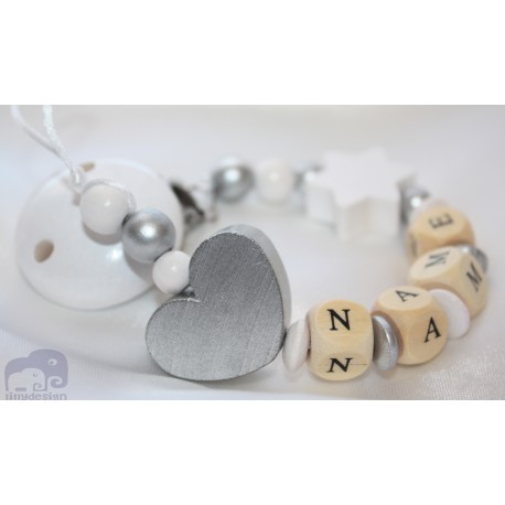Silver Heart & Star - Christening / Baptsim Personalised Wooden Dummy Clip / Chain / Holder / Pacifier