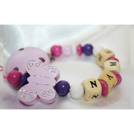Pink Shiny Butterfly - Christening / Baptsim Personalised Wooden Dummy Clip / Chain / Holder / Pacifier
