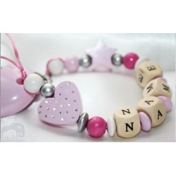 Glitter Dots Pink Heart & Star Baptsim Personalised Wooden Dummy Clip / Chain / Holder / Pacifier