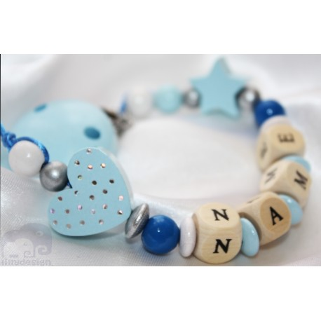 Glitter Dots Blue Heart & Star- Baptsim Personalised Wooden Dummy Clip / Chain / Holder / Pacifier