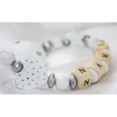 Glitter Dots White Heart & Star Personalised Wooden Dummy Clip / Chain / Holder / Pacifier