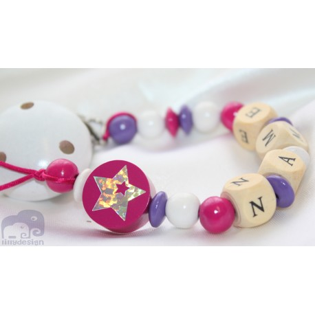 Shiny STAR * Fushia* Personalised Wooden Dummy Clip / Chain / Holder / Pacifier
