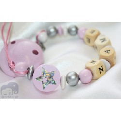 Shiny STAR * Pink* Baptsim Personalised Wooden Dummy Clip / Chain / Holder / Pacifier