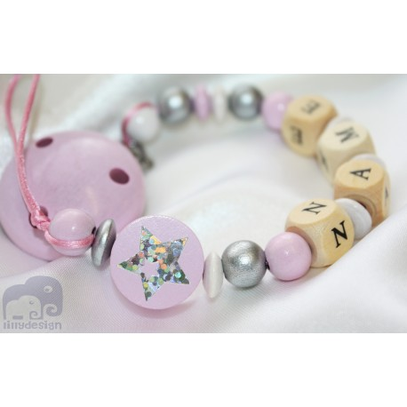 Shiny STAR * Pink* Personalised Wooden Dummy Clip / Chain / Holder / Pacifier