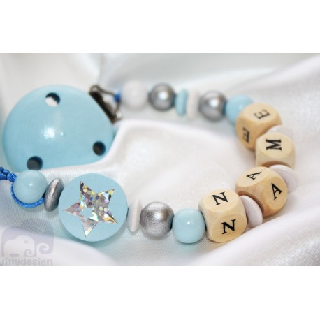 Shiny STAR * Blue* Personalised Wooden Dummy Clip / Chain / Holder / Pacifier