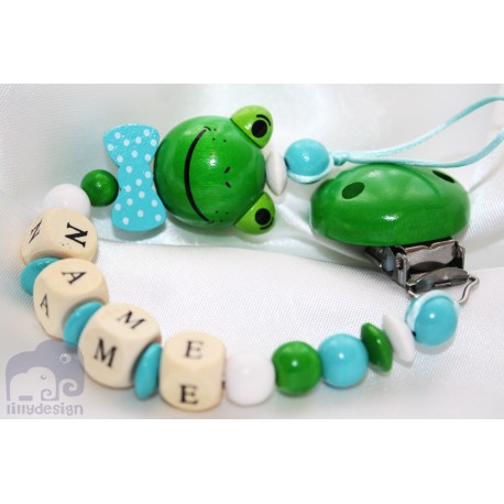 3D FROG with BOW Personalised Wooden Dummy Clip / Chain / Holder / Pacifier
