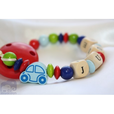 Car Multi -Coloured Personalised Wooden Dummy Clip / Chain / Holder / Pacifier