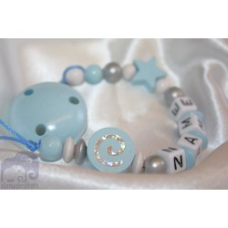 Glitter Spiral - Blue Personalised Wooden Dummy Clip / Chain / Holder / Pacifier