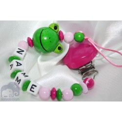 Pink Frog Personalised Wooden Dummy Clip / Chain / Holder / Pacifier