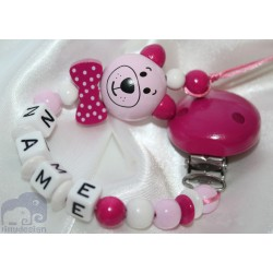 Pink Cat with Bow Personalised Wooden Dummy Clip / Chain / Holder / Pacifier