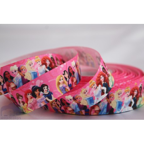 M2M All PRINCES - Pink Printed Grosgrain Ribbon 22mm -Crafts