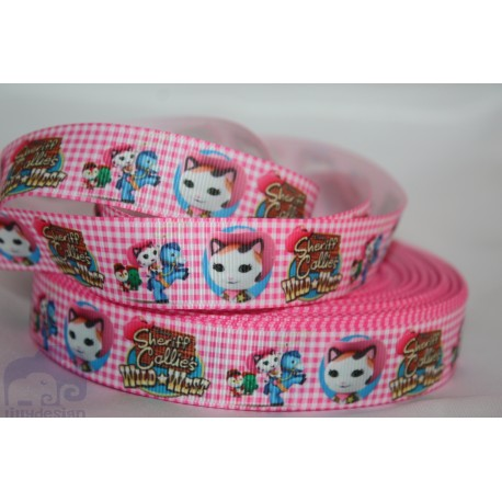Sheriff Callie Pink Printed Grosgrain Ribbon 22mm -Crafts