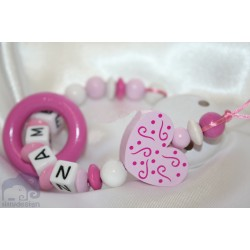 Pink Heart Teething Ring Personalised Wooden Dummy Clip / Chain / Holder / Pacifier