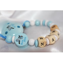 Born in 2016 - Blue Personalised Wooden Dummy Chain