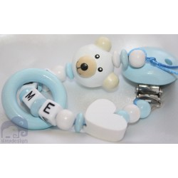 3D Teddy Bear *BLUE* Teething Ring Personalised Wooden Dummy Clip / Chain / Holder / Pacifier