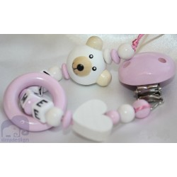 3D Teddy Bear *PINK* Teething Ring Personalised Wooden Dummy Clip / Chain / Holder / Pacifier