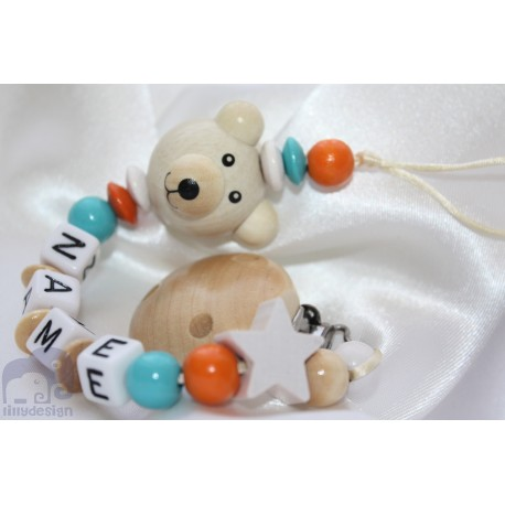 3D Natural Teddy Bear Personalised Wooden Dummy Clip / Chain / Holder / Pacifier