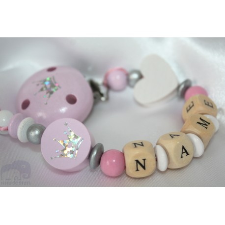 EXCLUSIVE * Pink GLITTER Crown Personalised Wooden Dummy Chain