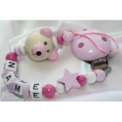 3D Pink Teddy Bear Personalised Wooden Dummy Clip / Chain / Holder / Pacifier