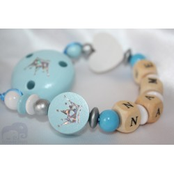 EXCLUSIVE * blue GLITTER Crown Personalised Wooden Dummy Chain