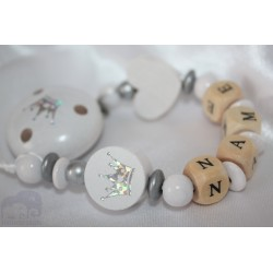 EXCLUSIVE * White GLITTER Crown Personalised Wooden Dummy Chain