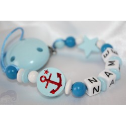 ANCHER * Blue Personalised Wooden Dummy Chain