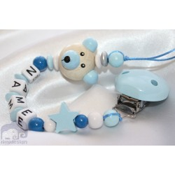 3D Blue Teddy Bear Personalised Wooden Dummy Clip / Chain / Holder / Pacifier
