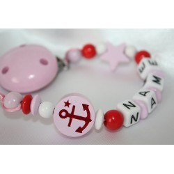 ANCHER * Pink Personalised Wooden Dummy Chain