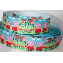 PEPPA PIG in PLAYGRAND * Printed Grosgrain Ribbon 22mm -Crafts