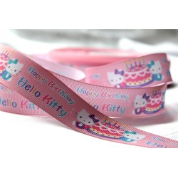 HELLO KITTY * Brithday Printed Grosgrain Ribbon 22mm -Crafts