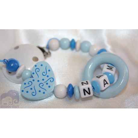 Blue Heart Teething Ring Personalised Wooden Dummy Clip / Chain / Holder / Pacifier