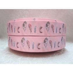 "1 metre 7/8"" Next M2M * PINK FEATHER PEPLUM * Grosgrain Ribbon"