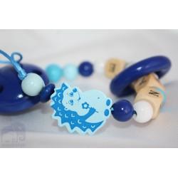 HEDGEHOG * Blue TEETHING Ring Personalised Wooden Dummy Chain