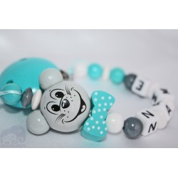 3D Turquoise BOW MOUSE * Personalised Wooden Dummy Chain