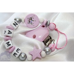 Glitter Crown Pink Personalised Wooden Dummy clip / Chain