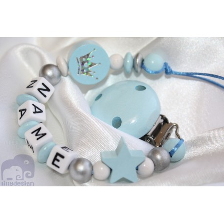 Glitter Crown Blue Personalised Wooden Dummy clip / Chain