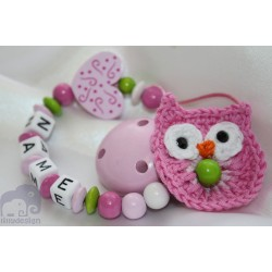 Crochet Pink OWL & HEART Personalised Wooden Dummy clip / Chain