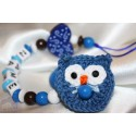 Crochet Blue OWL & HEART Personalised Wooden Dummy clip / Chain