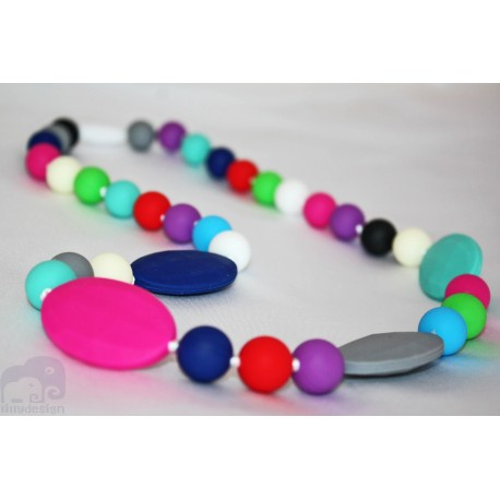 Multicoloured Silicone Breastfeeding Nursing Necklace Chew Teething