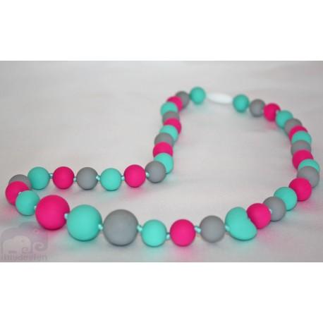 Fushia / Grey Silicone Breastfeeding Nursing Necklace Chew Teething
