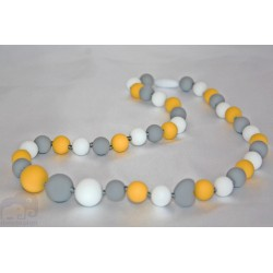 Yellow / Grey Silicone Breastfeeding Nursing Necklace Chew Teething