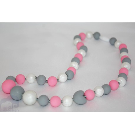 Pink / Grey Silicone Breastfeeding Nursing Necklace Chew Teething