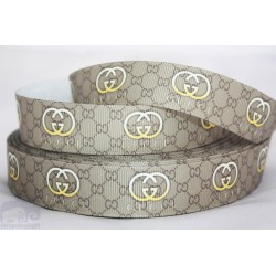 Grey Printed Grosgrain Ribbon 22mm -Crafts